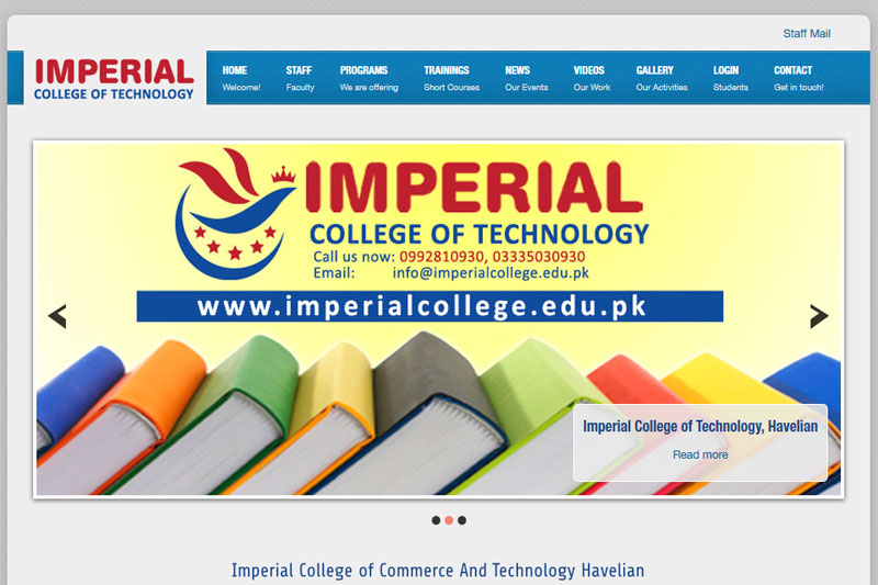 Imperial College of Commerce & technology, Havelian  :: Website designed by Webcomforts
