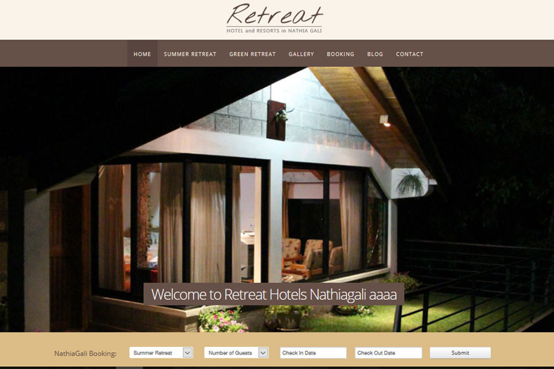 Retreat Hotels Nathiagali - Website designed by Webcomforts