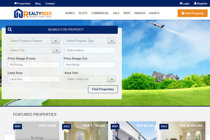 Realty Bees - Website designed by Webcomforts